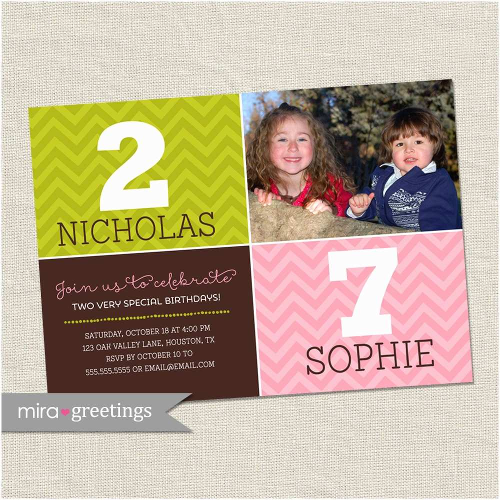 Double Birthday Party Invitations Double Birthday Party Invitation Dual Birthday Party Two
