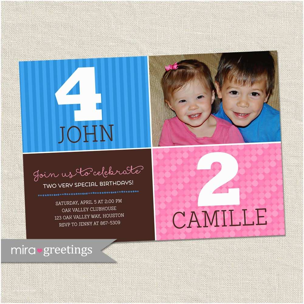 Double Birthday Party Invitations Double Birthday Party Invitation Sibling Birthday or Joint