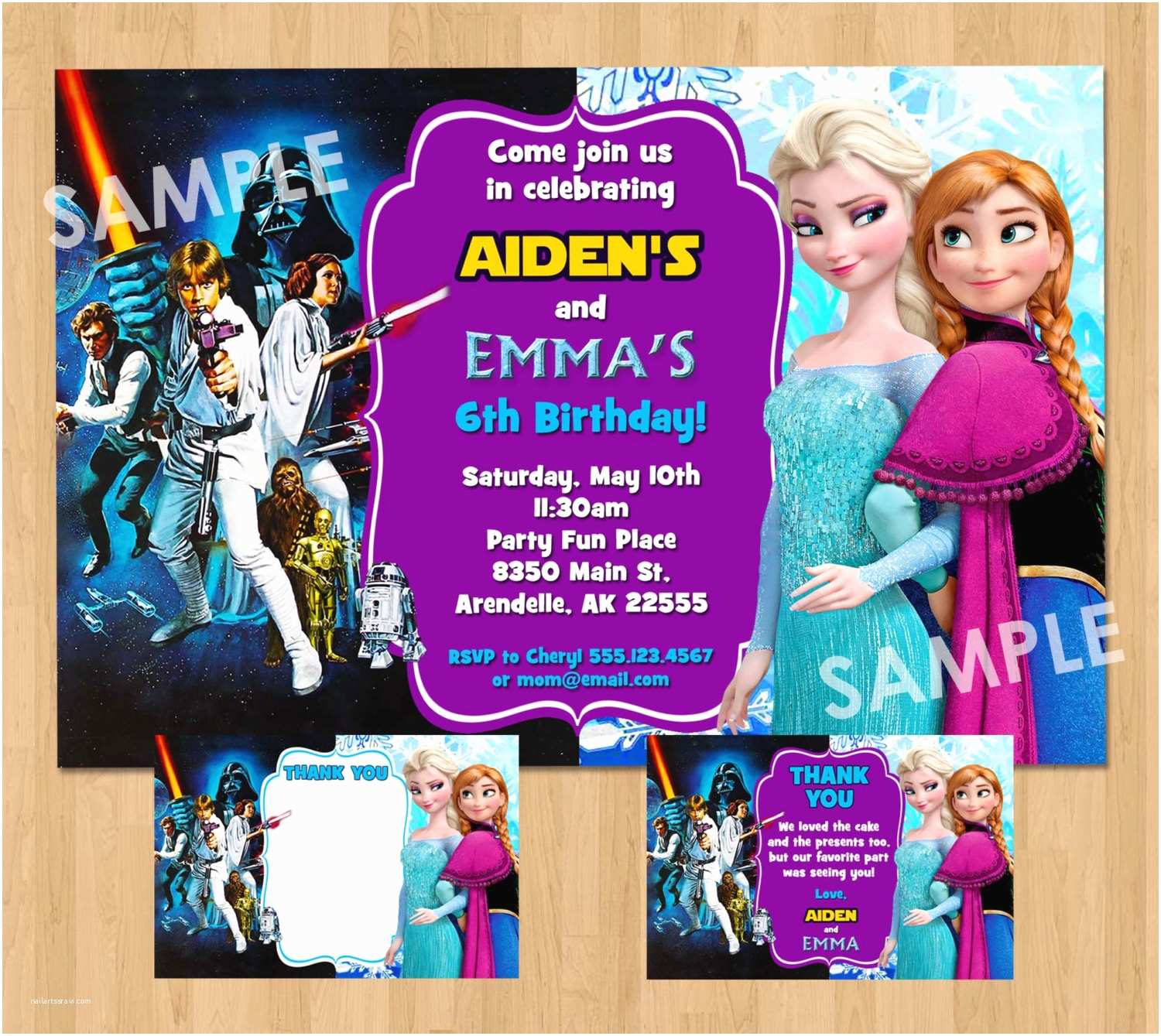 Double Birthday Party Invitations Double Birthday Party Invitation Star Wars and Frozen Boy