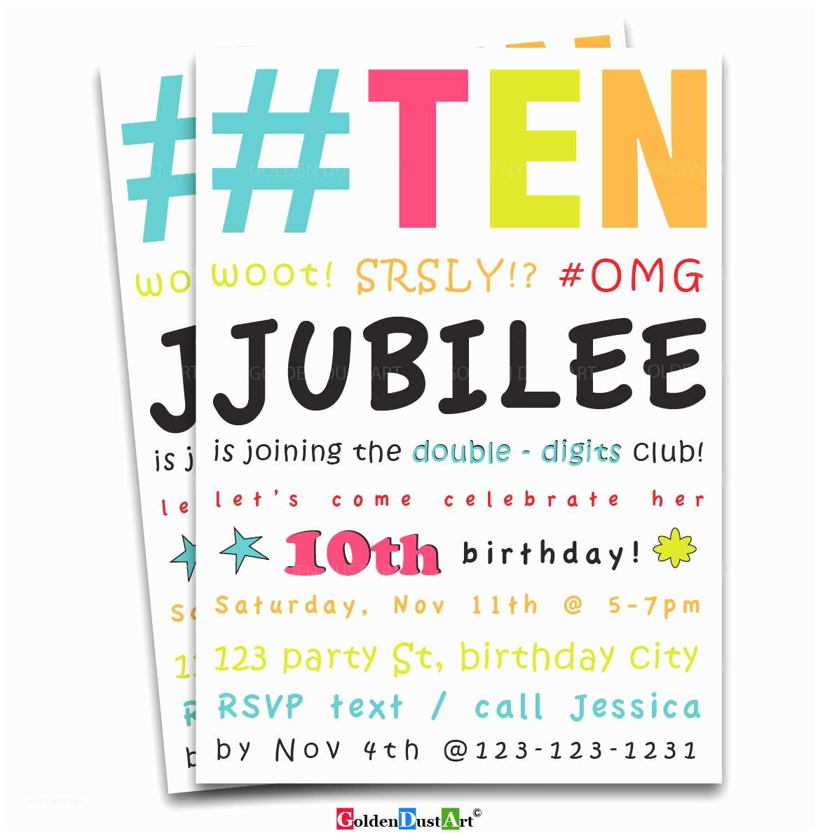 Double Birthday Party Invitations Double Digits Birthday Party Invitation 10th Birthday Invite
