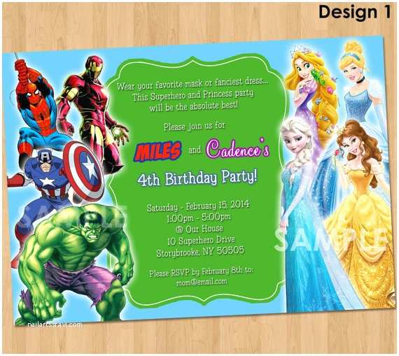 Double Birthday Party Invitations Double Party Invitation Superheroes and by Kidspartyprintables