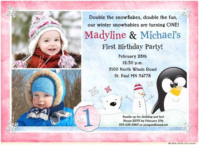 Double Birthday Party Invitations Double Winter Snowy Birthday Invitation Penguins Polar