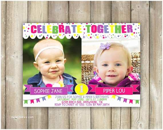 Double Birthday Party Invitations Joint Birthday Invitation Double Birthday Party Invite Twins