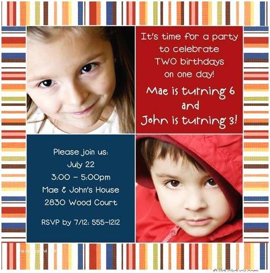 Double Birthday Party Invitations Joint Birthday Party Invitation Bright Double Fun Festive