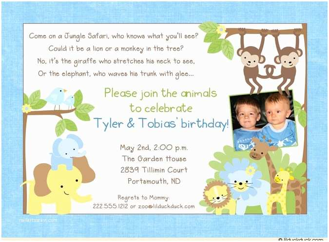 Double Birthday Party Invitations Jungle Safari Birthday Boy Invitation Animals Party Blue