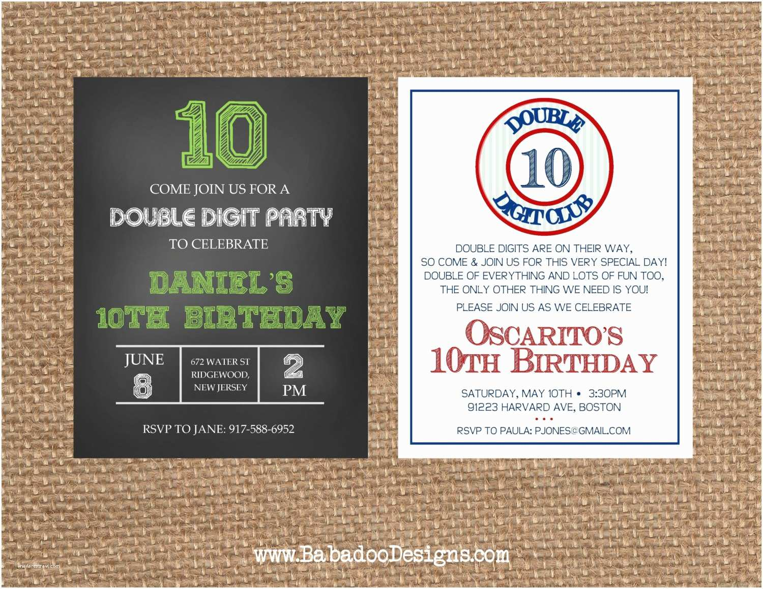 Double Birthday Party Invitations Number 10th Double Digit Birthday Anniversary Invitation
