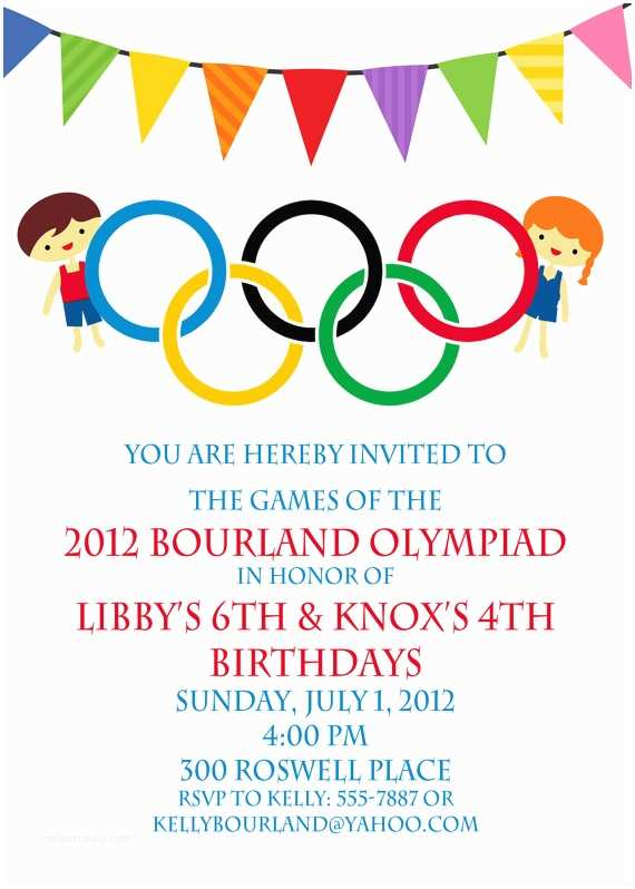 Double Birthday Party Invitations Olympic Party Invitation Olympics Birthday Invitation