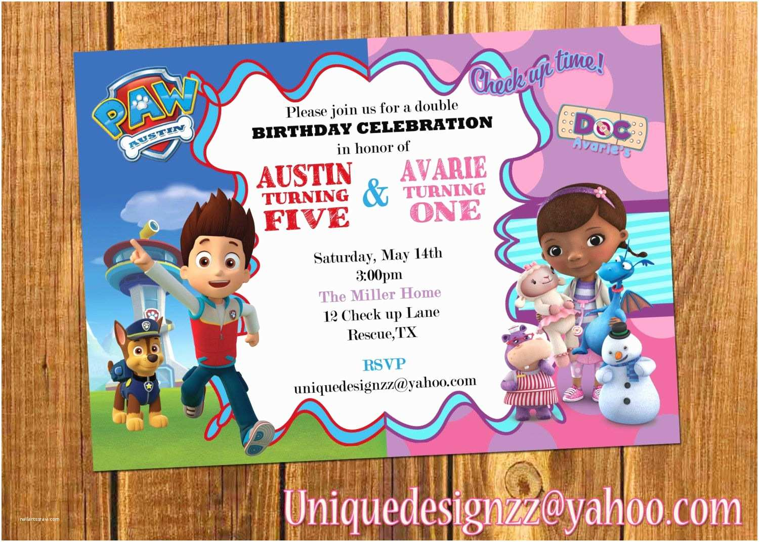 Double Birthday Party Invitations Paw Patrol and Doc Mcstuffins Double Birthday Party