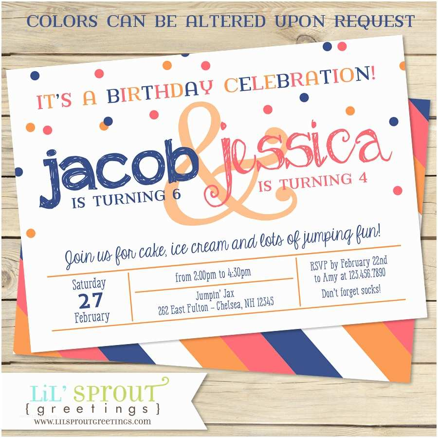 Double Birthday Party Invitations Sibling Double Birthday Party Invitation Two Child Birthday