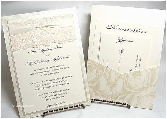 Double Sided Wedding Invitations Bonnie Lace Wedding Invitations Double Sided by