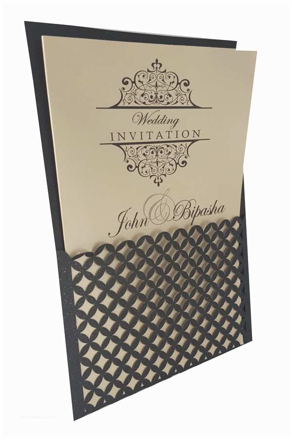Double Sided Wedding Invitations Bs Intricate Off White Pocketfold Laser Cut
