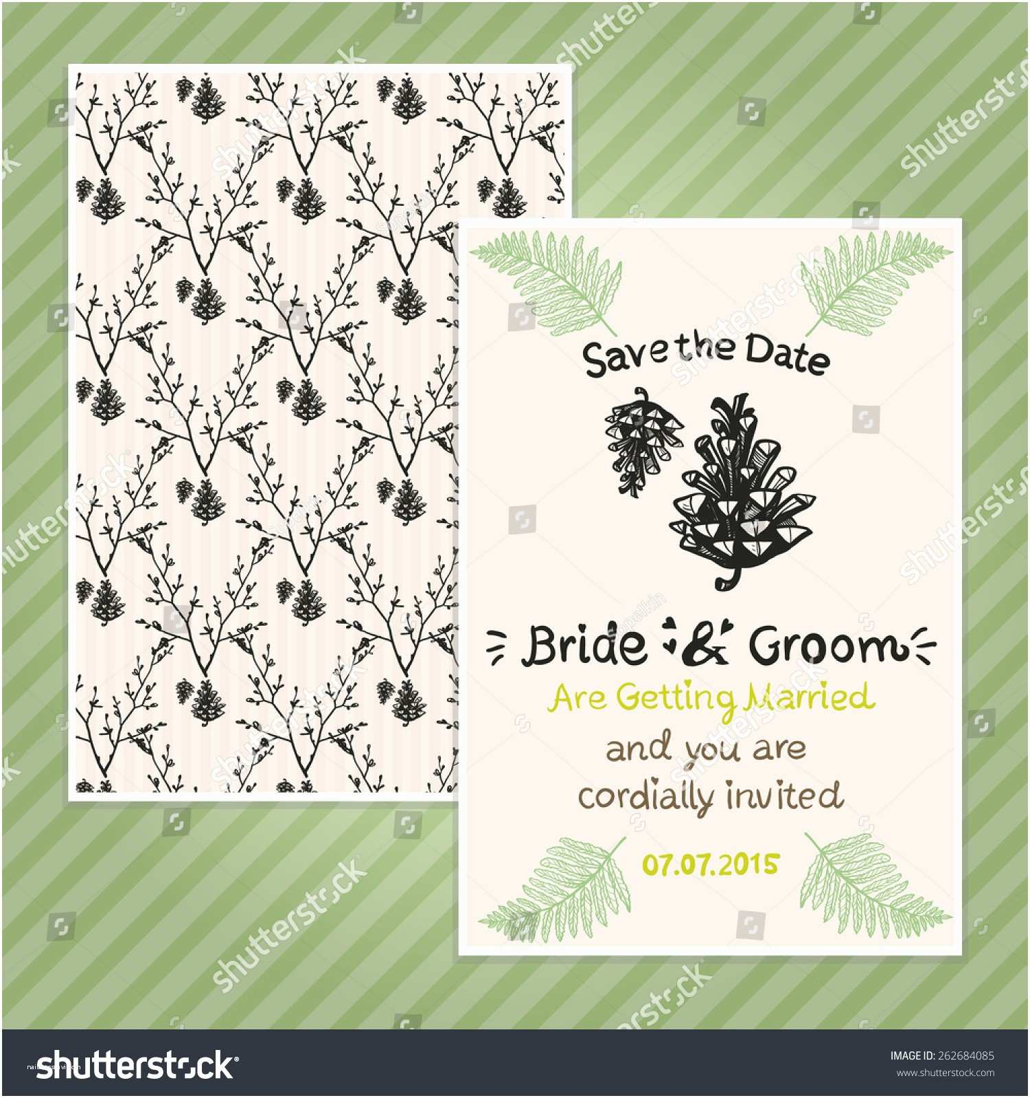 Double Sided Wedding Invitations Double Sided Vintage Invitation Card Wedding Stock Vector