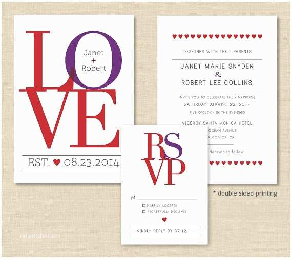 Double Sided Wedding Invitations Love Wedding Invitation Set Double Sided Modern Wedding