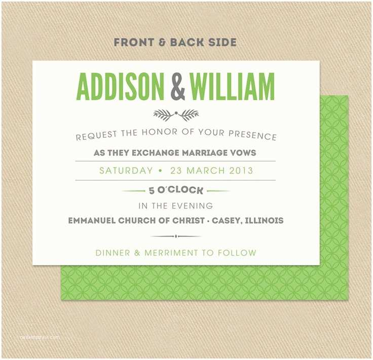 Double Sided Wedding Invitations Printable Wedding Invitation Double Sided 5x7 Modern Green