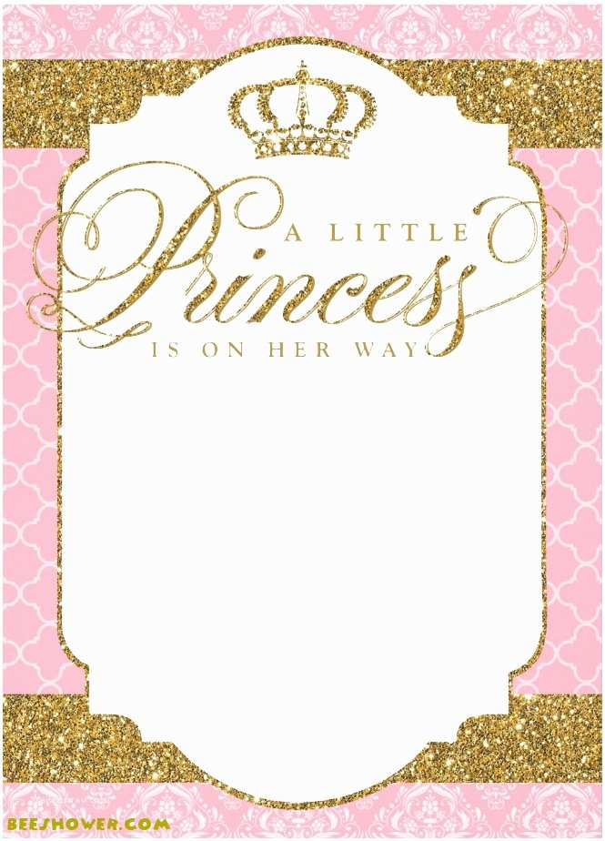 Downloadable Baby Shower Invitations Princess Themed Baby Shower