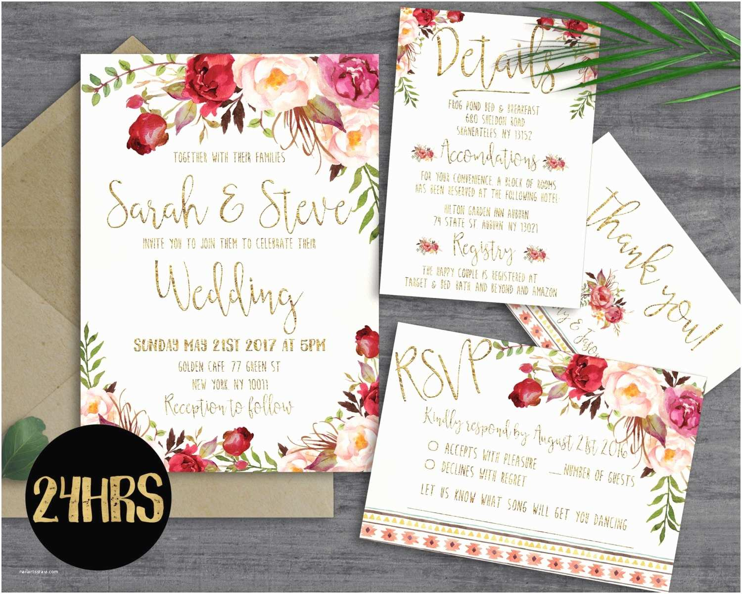 Downloadable Wedding Invitations Printable Wedding Invitation Template by Sunnyprint