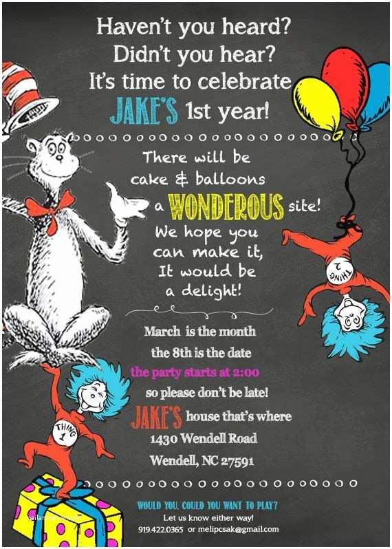 Dr Seuss 1st Birthday Invitations 25 5x7 Dr Seuss 1st Birthday Chalkboard Invitations