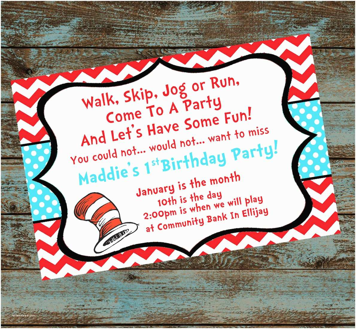 dr seuss 1st birthday party invitation