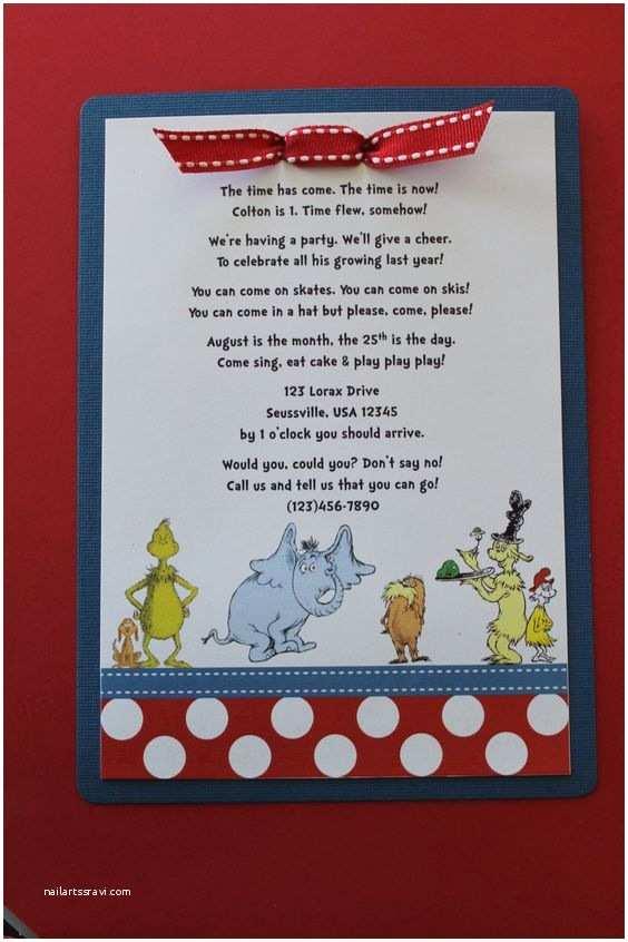 Dr Seuss 1st Birthday Invitations Dr Seuss Birthday Invitation with Polka Dot Border $25