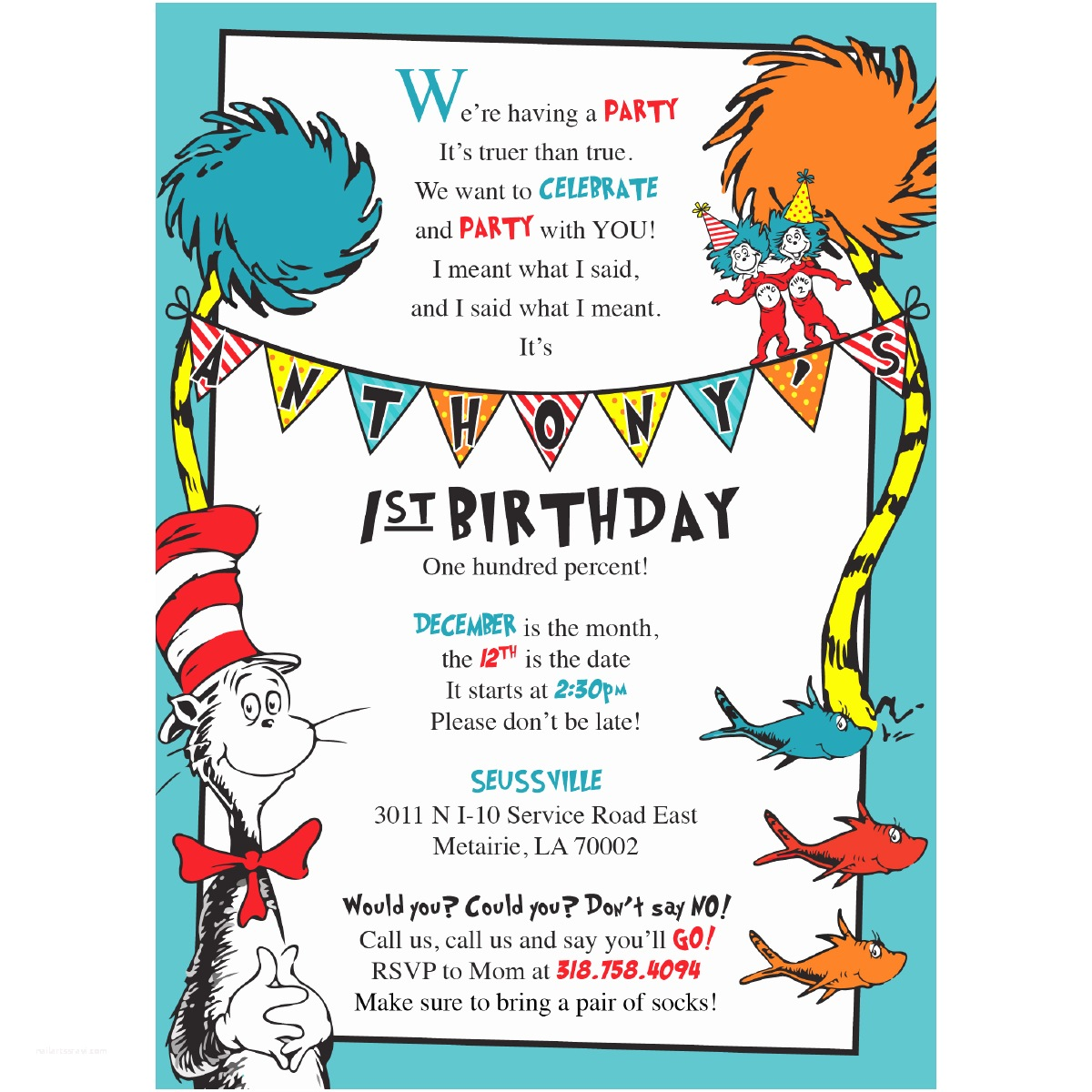 Dr Seuss 1st Birthday Invitations Dr Seuss Birthday Invitations – Blackline