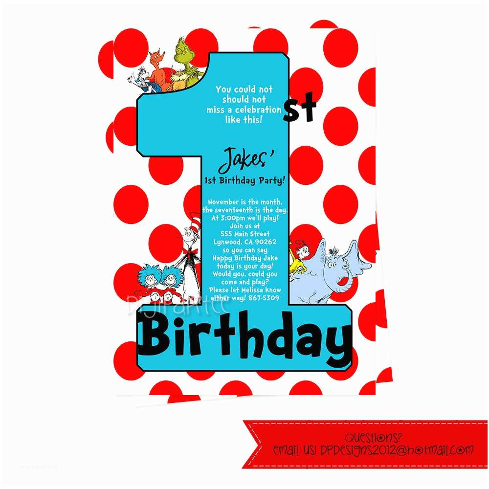 Dr Seuss 1st Birthday Invitations Dr Seuss Invitations for 1st Birthday Ly by Dpdesigns2012
