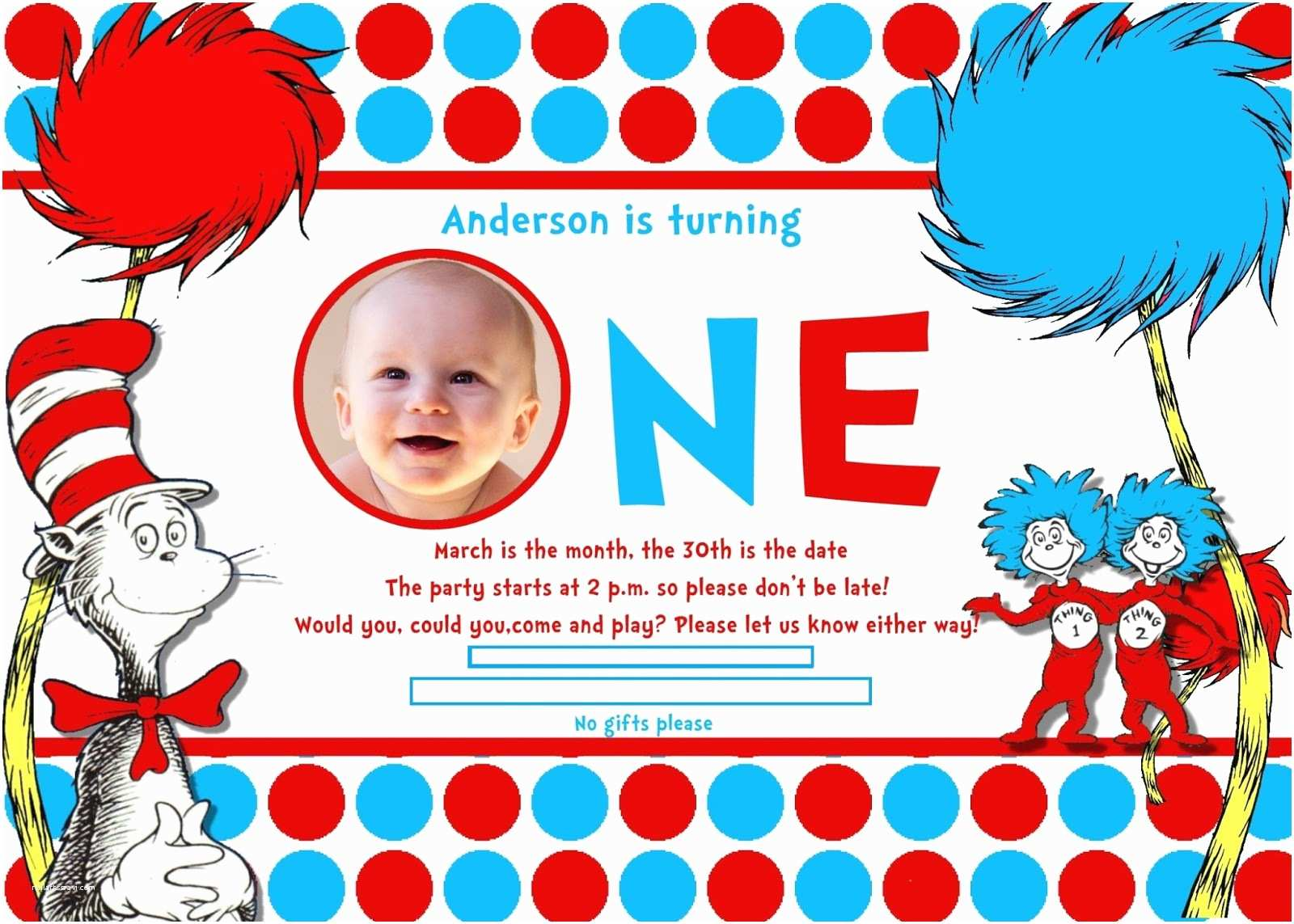 Dr Seuss 1st Birthday Invitations For