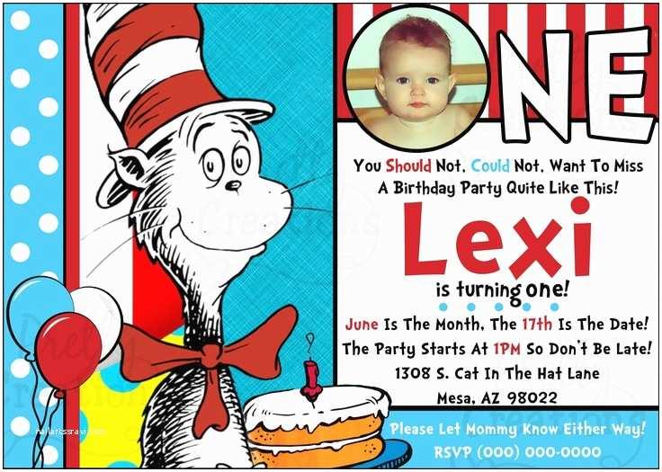 Dr Seuss 1st Birthday Invitations First Birthday Party Invite 1st Birthday Invitation Dr