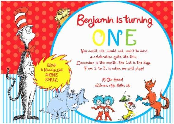 Dr Seuss 1st Birthday Invitations Items Similar to Dr Seuss First Birthday Party Invitation