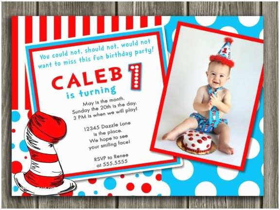 Dr Seuss 1st Birthday Invitations Printable Dr Seuss Inspired Birthday Invitation
