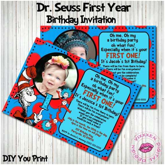 Dr Seuss 1st Birthday Invitations Unavailable Listing On Etsy