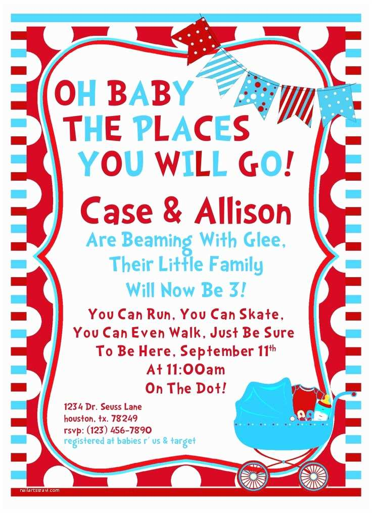 amazing multicolored dr seuss baby shower invitati