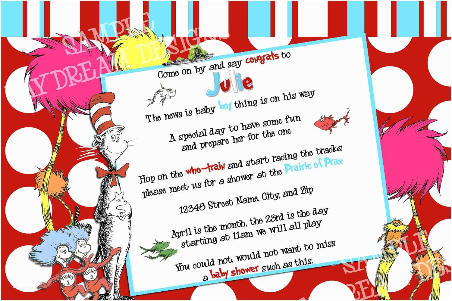 Dr Seuss Baby Shower Invitations 6 Best Of Dr Printable Seuss Baby Shower