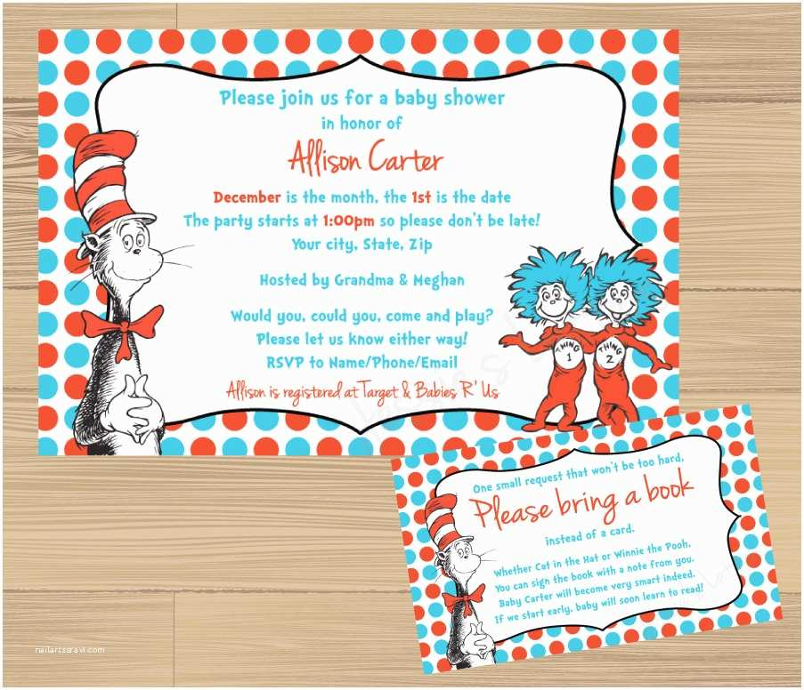 Dr Seuss Baby Shower Invitations Custom Made Dr Suess Baby Shower Invitation and Free Insert