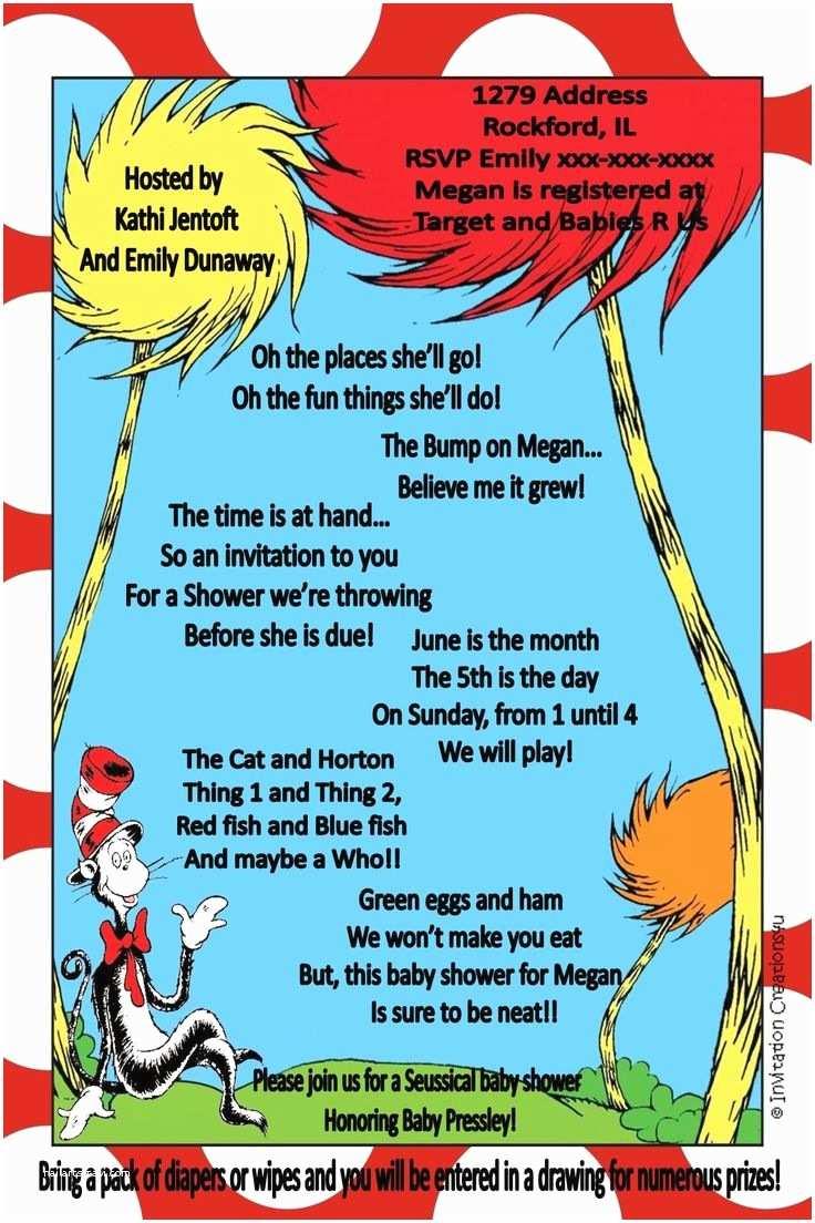 Dr Seuss Baby Shower Invitations Dr Seuss Baby Shower Ideas