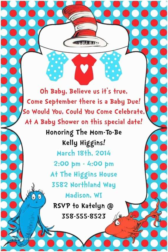 Dr Seuss Baby Shower Invitations Dr Seuss Baby Shower Invitation Digital File by