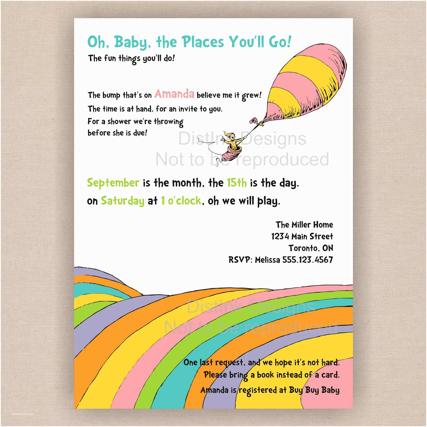 Dr Seuss Baby Shower Invitations Oh the Places Youll Go Dr Seuss Quotes Quotesgram