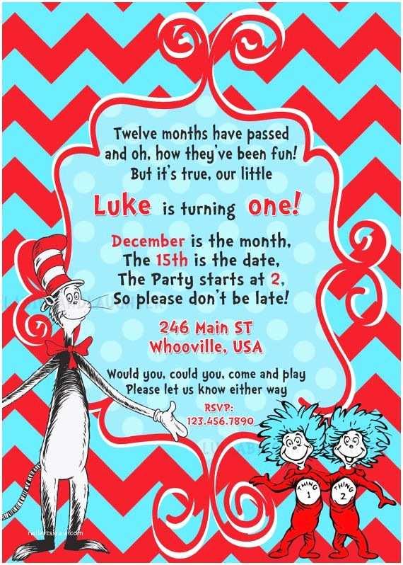 Dr Seuss Birthday Invitations Custom Thing 1 2 Invitation