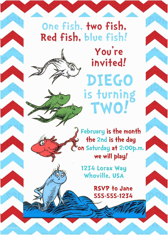 Dr Seuss Birthday Invitations Dr Seuss E Fish Two Fish Birthday Invitation $11
