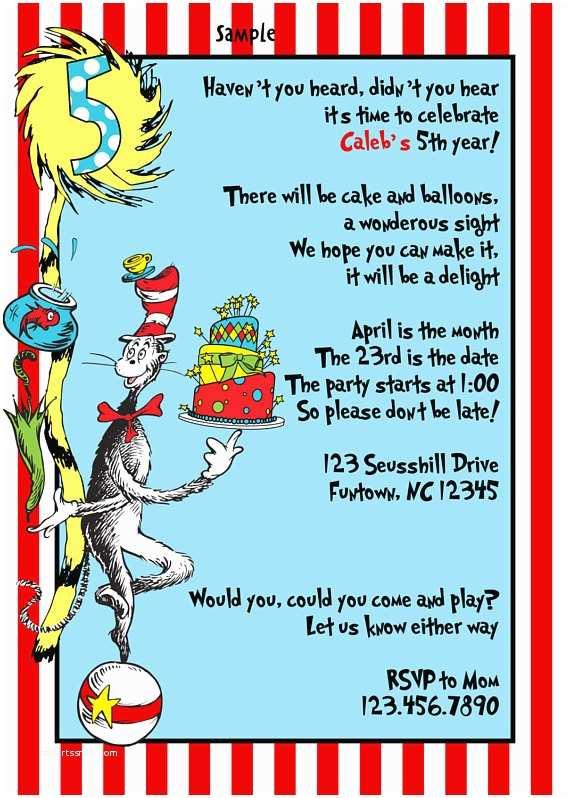 Dr Seuss Birthday Invitations Items Similar to Dr Seuss Birthday Party Invitations Baby
