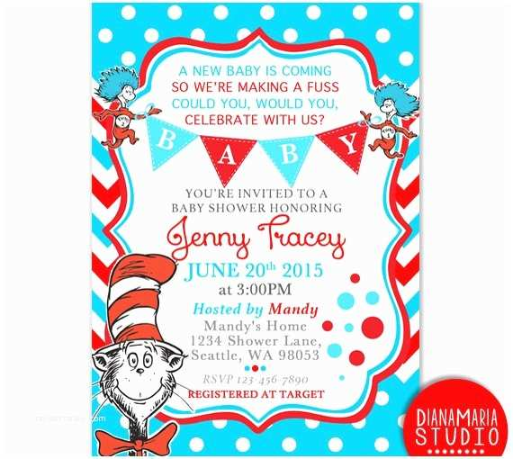 Dr Seuss Party Invitations Dr Seuss Baby Shower Invitation Card Cat In the Hat Baby