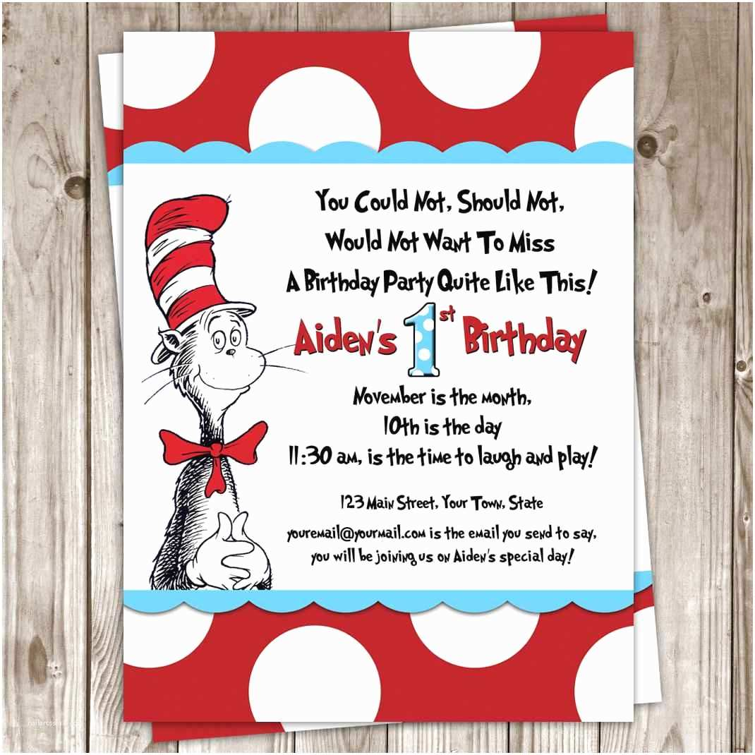 Dr Seuss Party Invitations Dr Seuss Birthday Invitations