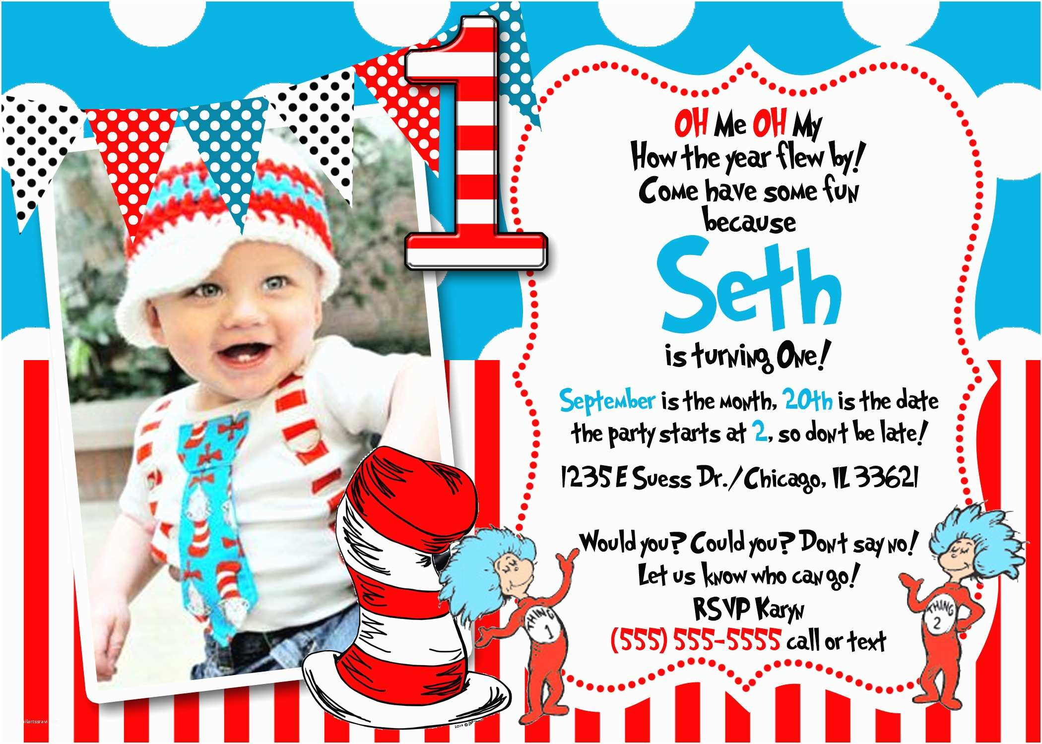 Dr Seuss Party Invitations Dr Seuss Birthday Invitations Wording