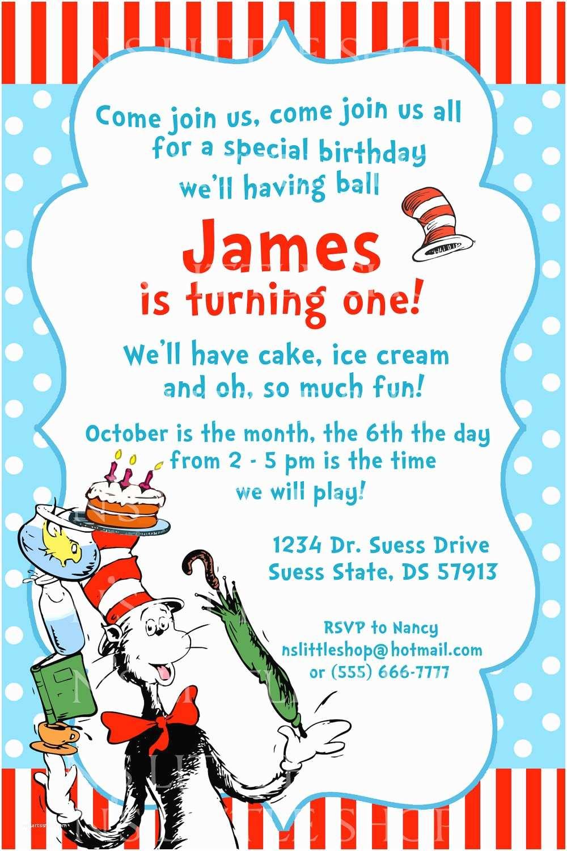 Dr Seuss Party Invitations Dr Seuss Birthday Invitations Wording