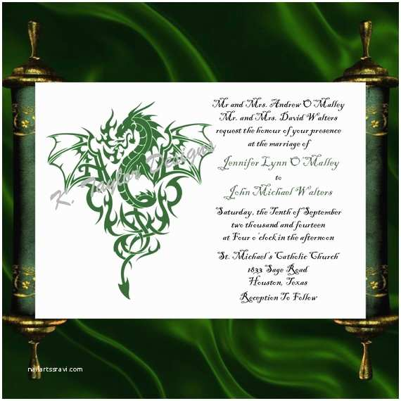 Dragon Wedding Invitations Dragon Invitation & Rsvp Celtic Dragon by Katetaylordesigns