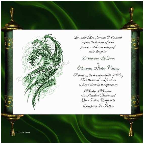 Dragon Wedding Invitations Dragon Invitation & Rsvp Celtic Dragon Wedding Invitation