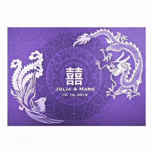 Dragon Wedding Invitations Purple Chinese Wedding Invitations Dragon Phoenix Double