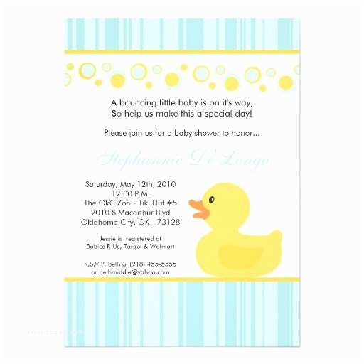 Duck Baby Shower Invitations 5x7 Yellow Rubber Ducky Baby Shower Invitation
