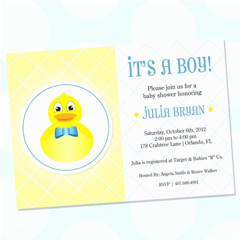 Duck Baby Shower Invitations Design Rubber Ducky themed Baby Shower Invitations