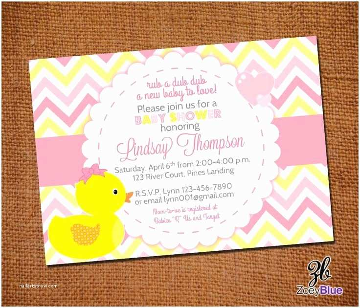 Duck Baby Shower Invitations Girl Rubber Ducky Baby Shower Invitation Girl Bow