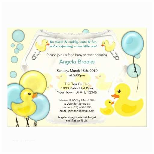"Duck Baby Shower Invitations Rubber Duck Ducky Diaper Baby Shower Invitation 5"" X 7"
